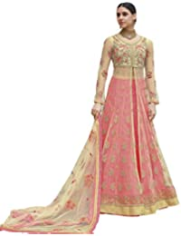 Like A Diva Beige Pink Net Anarkali Suit With Lehenga Skirt & Pants For Women