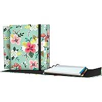 Grafoplás 88211934-Carpeta de anillas troqueladas A4, Diseño Noa, dibujo de flores, con cierre de goma con solapa, 4 separadores extra gruesos y 100 hojas de 90g