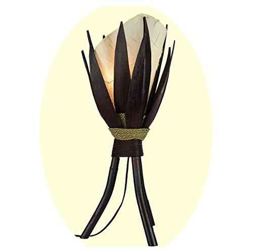 Stehleuchte Bali Lampe in weiß 67x24cm • außergewöhnliche Standleuchte aus Bananenblättern • Stimmungslicht aus traditioneller Handarbeit • asiatische Dekolampe • Stimmungsleuchte
