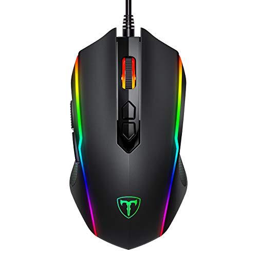 Holife 205 Wired Gaming Maus, 7200 DPI, 7 programmierbare Tasten, Chroma RGB Hintergrundbeleuchtung, 1.8M USB-Kabel PC Computer Maus, Schwarz