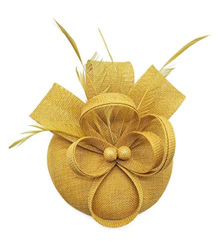 inator/Fascinator/Hut mit Blumenapplikation, Cocktailball, Hochzeit, Kirche, Teeparty Gr. Einheitsgröße, Gold ()