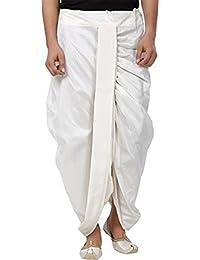 Larwa Men's White Dupion Silk Free Size Dhoti