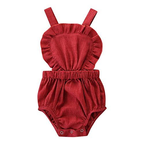 TTLOVE Sommer Outfits SäUglingsbaby MäDchen Strampler Kind Neugeborene Feste RüSche-Spielanzug Bequem Bodysuit Sunsuit Süß Kinderkleidung (rot,100)
