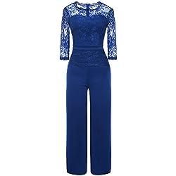 Misschicy - Combinaison - Manches 3/4 - Femme - Bleu - M