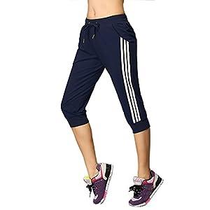 DOXUNGO Freizeithose, 3/4 Länge Hose, Fitnesshose, dünne Sporthose, Pilateshose Yogahose für Sommer