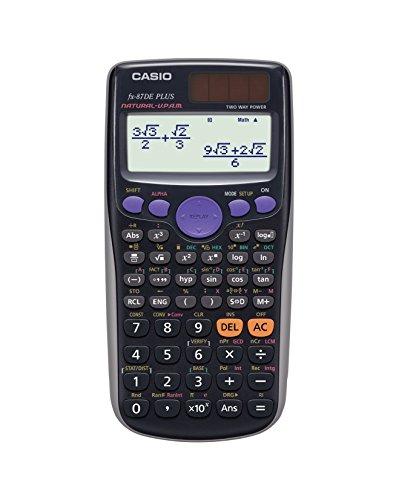 CASIO FX-87DE Plus wissenschaftlicher Taschenrechner / Schulrechner mit 502 Funktionen und natürlichem Display, Solar/Batterie