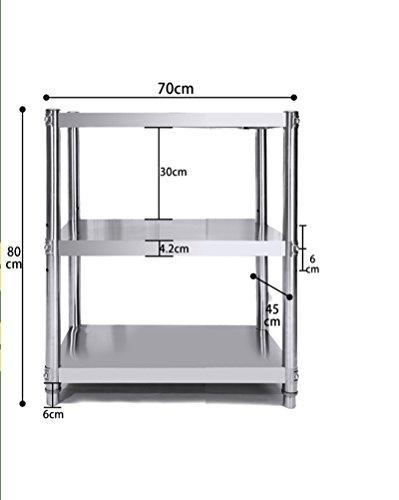 ZWX@ Mensola da cucina/scaffali in acciaio inox a 3 strati/mensole a mensola a microonde/ripiani / mensole speciali/forno a microonde a tre strati (dimensioni : 70 * 80 * 45cm)