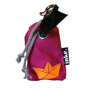 inke. Mini Kotbeutelspender in Handarbeit aus Norddeutschland inkl. 1 Rolle Bio-abbaubare Kotbeutel, Pink Schiffchen Orange