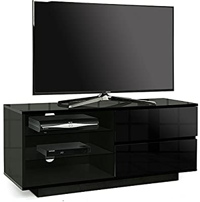 "Centurion Gallus Gloss Black with 2-Black Drawers & 3-Shelf 26""-55"" LED/ LCD / Plasma Cabinet TV Stand"