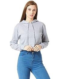 Miss Chase Women's Grey Cotton Hooded Crop Sweatshirt