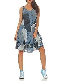 ab3ec4d012b87f ZARMEXX Damen Sommerkleid Strand Kleid Patchwork-Print Ärmellos doppellagig  A-Linie One Size…
