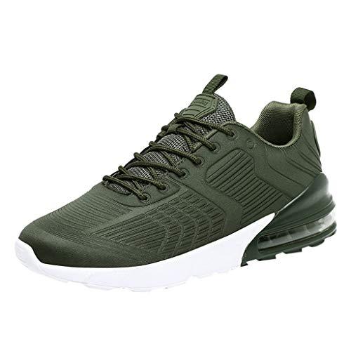 POIUDE Herren Sportschuhe Fliegendes Weben Atmungsaktiv Laufschuhe mit Luftpolster Turnschuhe Sneakers Leichte Schuhe(Grün, 43)