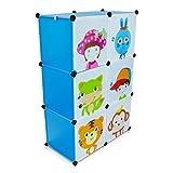 Kinderzimmer Steckschrank - Set aus 6 Modulen, Blau - DIY Steckregal System Regalschrank - Grinscard