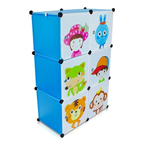 VENKON - Kinderzimmer Steckschrank DYI Steckregal System Regalschrank: 6-Module-Set, blau