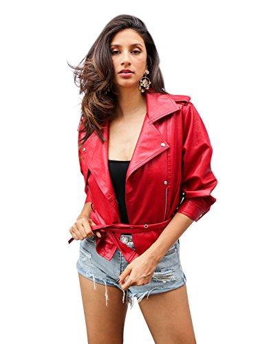 Simplee Apparel Damen Jacke Herbst Winter Elegant Cusual PU Leather Jacke Kurz Jacket Mantel Übergansjacke mit Gürtel Rot