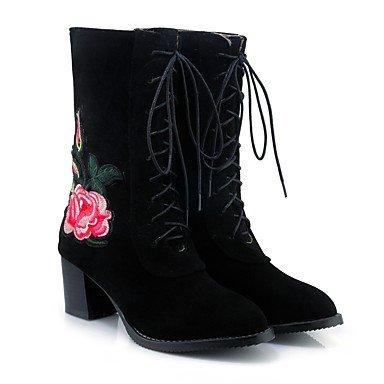 RTRY Scarpe donna pelle Nubuck caduta molla Comfort cinturino alla caviglia stivali Chunky tallone punta tonda Mid-Calf stivali Lace-Up fiore per Abbigliamento Casual US8.5 / EU39 / UK6.5 / CN40
