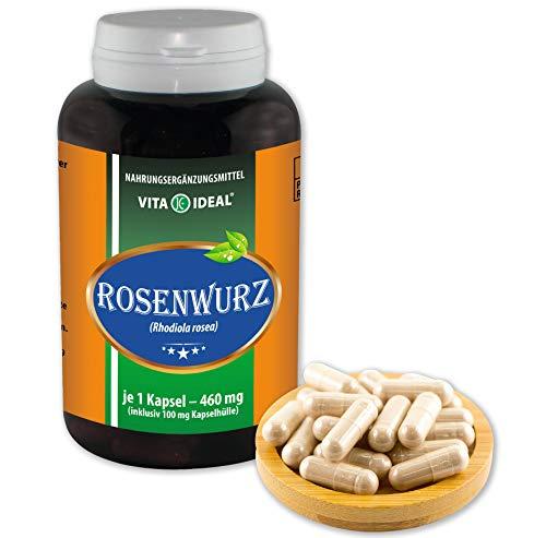VITA IDEAL ® Rosenwurz (Goldene Wurzel, Rhodiola rosea) 360 Kapseln je 460mg, aus rein natürlichen Kräutern ohne Zusatzstoffe - Rhodiola Rosea Wurzel -