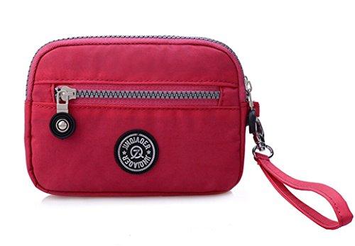 ac9b13fd9ef3 (512 Plum) - Tiny Chou Dual Layers Zipper Purse Waterproof Nylon Wristlet  Bag Clutch