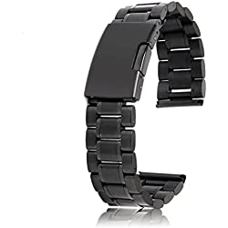 WINOMO Black Stainless Steel Bracelet Watch Band Strap Straight End 22mm - 1 Piece