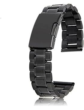 UEETEK 22mm Premium Qualität Edelstahl solide Links Armband Uhrenarmband Gurt gerade Ende