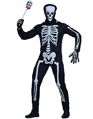 Kostüm Skelett Männliches - EraSpooky Herren Halloween Karneval Fasching Skelett Kostüm und Maske