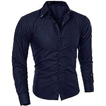 Juleya Camisas Hombre Slim Fit Camisa Formal Manga Larga Casual Top Camisas Color Sólido Suave Cómoda Moderna Camisa