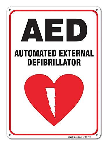 Automatisiertes externes Defibrillator-Schild, groß, 10 x 7 cm, Aluminium, für Innen- und Außenbereich -