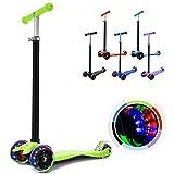 Hikole Kinderscooter Dreirad mit verstellbarem und Abnehmbarer Lenker Tret-Roller LED Räder Blinken für Kinder ab 3 Jahren (Grün)