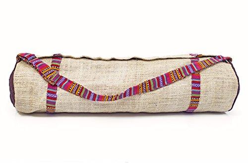 greenearthco Yoga Matte Tasche mit verstellbaren Trageriemen, handgefertigt in Nepal aus 100% natürlichen Bio Hanf