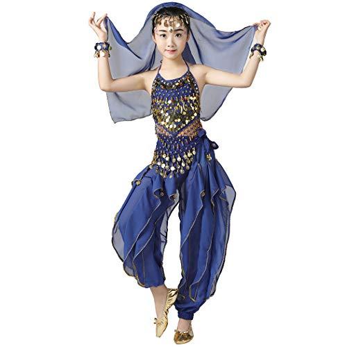Magogo Mädchen Bauchtanz Kostüm 6 stücke Kit, Kinder Arabische Prinzessin Chiffon Kleidung Indian Dance Performance Outfit (L, - Arabische Dance Kostüm Kinder