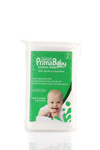 PrimaBaby Cotton Squares, Soft and Gentle, Chemical Free, 60 Pieces