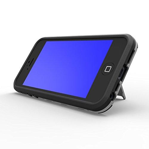 Pour Apple iphone 5 5s Coque Etui Case, Ougger Extreme Protecteur [Absorption Des Chocs] [B¨¦quille] Armor Housse Hard PC + Soft TPU Beau Caoutchouc 2in1 L¨¦ger Back Gear Rear Gris bleu