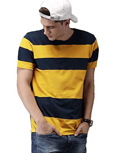 Veirdo Men's Cotton T-shirt, Large (Yellow, TSH_78_YLWNVY_L)