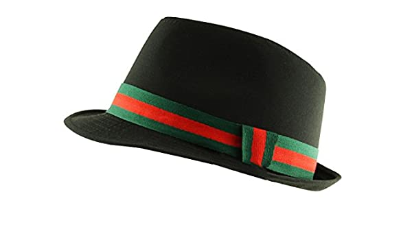 50632f6513 Itzu Mens Black Trilby Fedora Hat with Green and Red Stripes Band ...