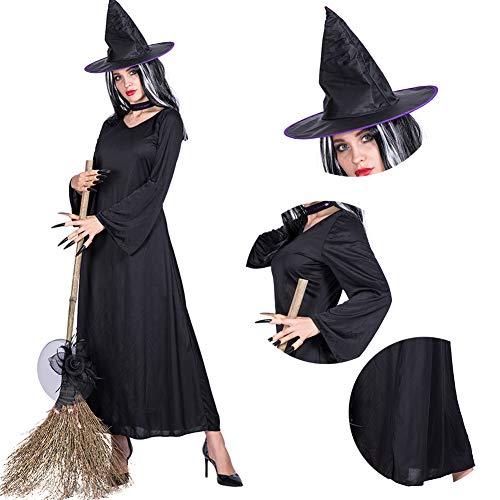 RISILAYS Frauen Halloween Kostüm, Schwarze Robe Hexe Kostüm, Maskerade Party Dekoration Cosplay Kostüm Karneval Ostern (Schwarz, Mit ()