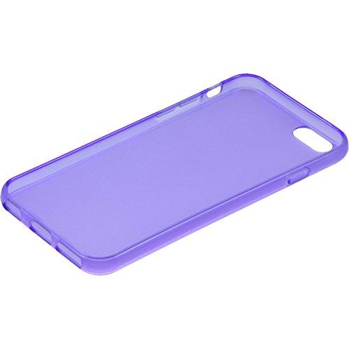 PhoneNatic Case für Apple iPhone 6s / 6 Hülle Silikon schwarz transparent Cover iPhone 6s / 6 Tasche + 2 Schutzfolien Lila