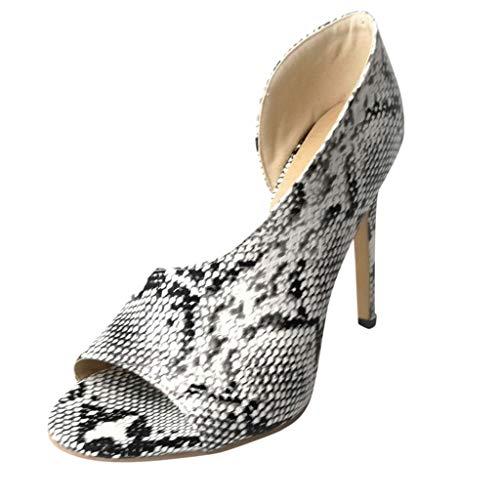 Dragon868 Sandali Donna Eleganti Estivi Serpente Stampa Scarpe Peep Toe Ladies Shoes Sandali Tacco a Spillo 11.5cm Formale Cerimonia Estivi 2019 Bianco
