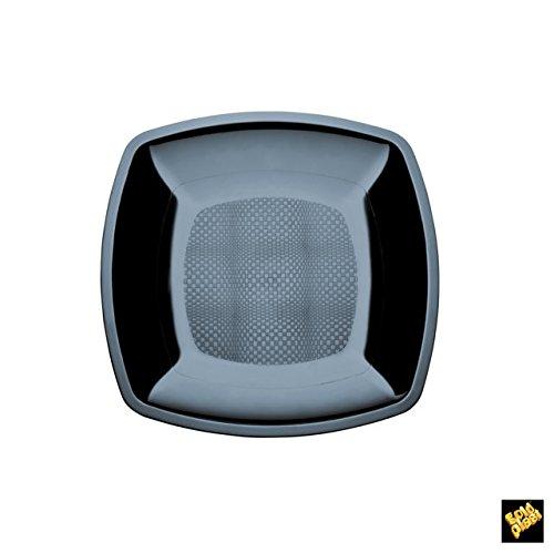 Nv Corporacion-Assiette à Dessert Carrée en Plastique-Pack de 25 180Mmx180Mm noir