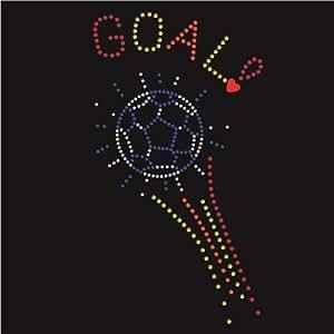 Motif Transfert en strass thermocollant hotfix GOAL FOOTBALL sportif