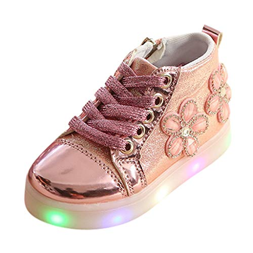 Elecenty Scarpe Sportive Da Corsa Per Bambini In Cristallo Floreale Con Luce A Led Light up Boy Girl Star Scarpine Antiscivolo Sneaker