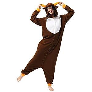 Katara- Pijamas Enteros Diferentes Animales y Tamaños, Adultos Unisex, Color Reno marrón, Talla 175-185cm (1744)