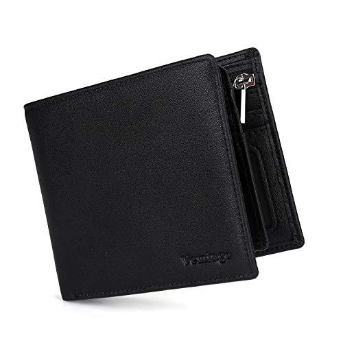 Vemingo Portafoglio Uomo Classico Portamonete con Porta Carta di Identità Carte di Credito RFID Lock | Portafoglio in Pelle PU con Chiusura a Zip, Nero
