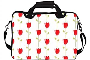 "Snoogg Red Flowers 12"" 12.5"" 12.6"" inch Laptop Notebook SlipCase With Shoulder Strap Handle Sleeve Soft Case With Shoulder Strap Handle Carrying Case With Shoulder Strap Handle for Macbook Pro Acer Asus Dell Hp Sony Toshiba"