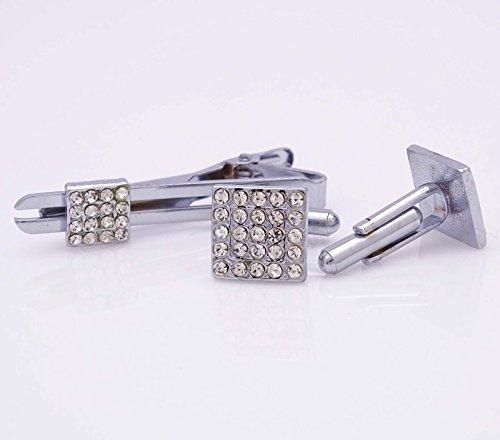 Banithani Boutons De Manchette Tie Pin Clip Set Men Accessoires Shirt Marié Cadeau Bijoux argent-1