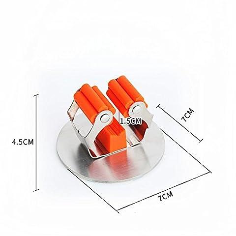 HomJo Geräte 3M Mop und Besenhalter Edelstahl gebürstet Nickel Badezimmer Küche selbstklebend Rack , 1 - Acciaio Inossidabile Canna Da Pesca Titolare