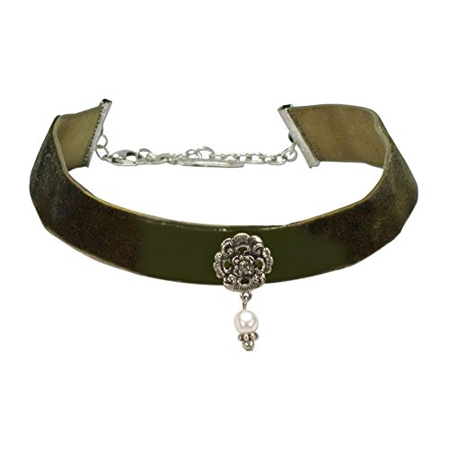 Alpenflüstern Trachten-Samt-Kropfband Frida mit Ornament und Perle - nostalgische Trachtenkette enganliegend, Kropfkette elastisch, Damen-Trachtenschmuck, Samtkropfband breit grün DHK168