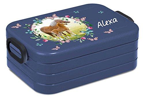 Preisvergleich Produktbild Lunchbox Rosti Mepal Maxi Take A Break midi Brotdose Brotbox mit eigenem Namen Pferdewiese mit Schmetterlingen (denim blau)
