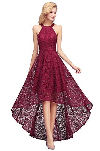 MisShow Damen Brautjungfernkleid für Hochzeit Ärmellos Pinup Kleid Abendkleid Einfarbig weinrot 42 Prom-ball