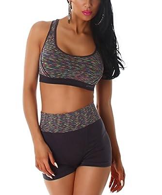 SET Komfort Damen BH + Pantys Ohne Bügel Sport BH starker halt Bustier Stretch Bra Push Up Top Für Yoga Fitness-Training