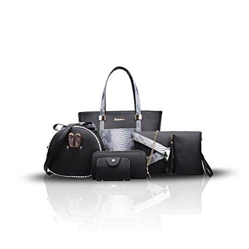 Sunas Borsa a tracolla trasversale della borsa delle nuove donne di modo 2017 retro 6 insiemi delle borse superiori delle borse nero